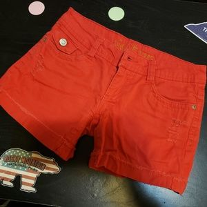 Red Jean shorts by wallflower